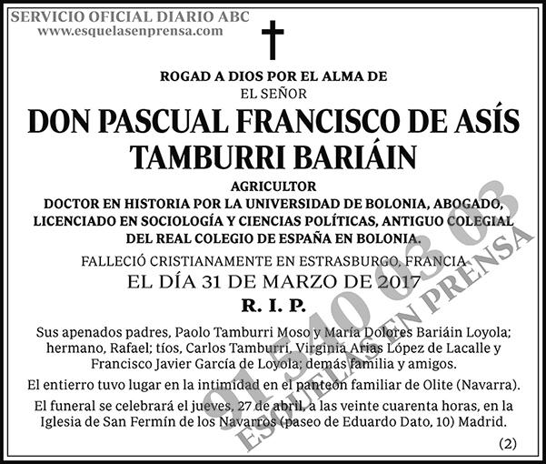 Pascual Francisco de Asís Tamburri Bariáin